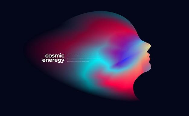 Elemento di sfondo del concetto di volto di cosmo concettuale
