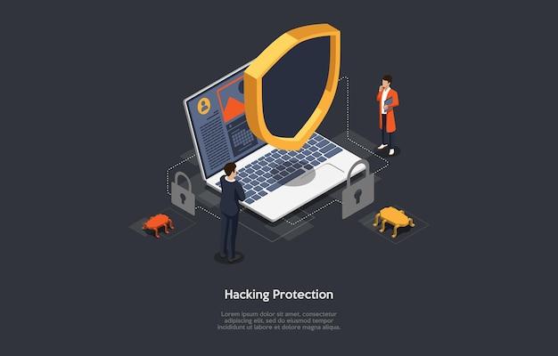 Illustrazione concettuale di hacking e idea protezione virus