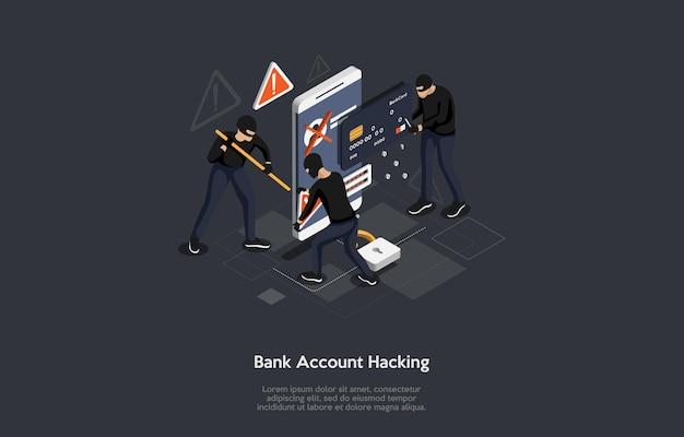 Illustrazione concettuale dell'idea di hacking del conto bancario personale.