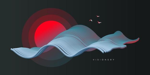 Progettazione concettuale di paesaggi al tramonto con onde dinamiche