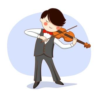 Concerto. il ragazzo sul palco suona il violino.