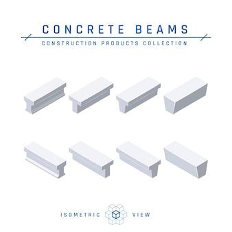 Travi in cemento, vista isometrica set di icone per progetti architettonici in stile piatto
