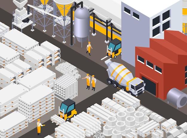 Illustrazione di produzione di cemento concreto