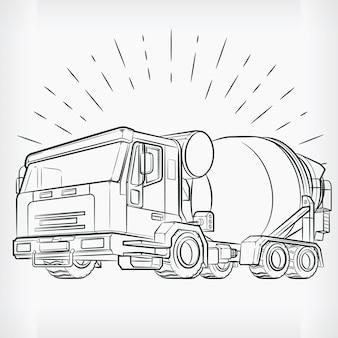 Disegno di schizzo del camion del cemento di scarabocchio della betoniera