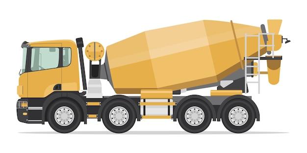 Vista laterale del camion della betoniera