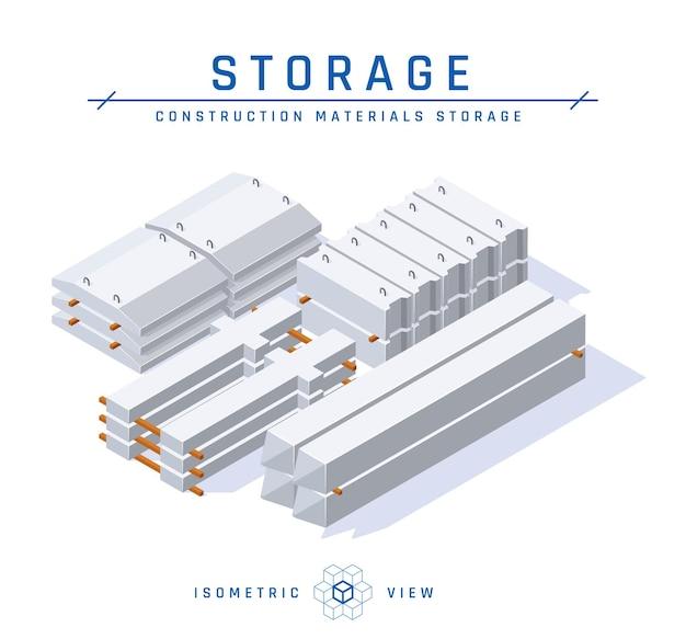 Vista isometrica del concetto di stoccaggio concreto. set di articoli da costruzione