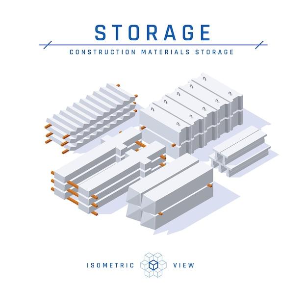 Concetto di stoccaggio concreto, vista isometrica set di icone per progetti architettonici