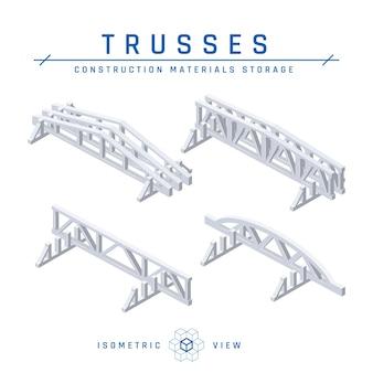 Concetto di stoccaggio di capriate in calcestruzzo, vista isometrica set di icone per progetti architettonici