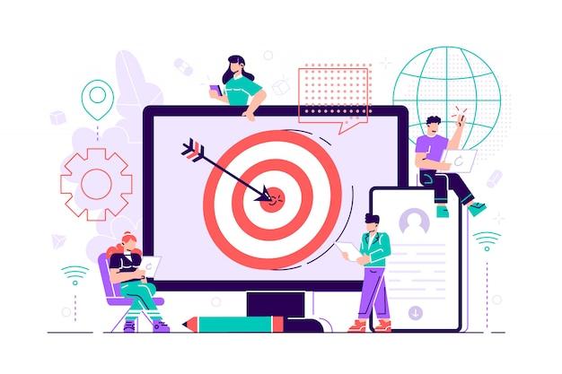 I consumatori con dispositivi ricevono annunci e messaggi mirati. targeting multi-dispositivo, raggiungimento del pubblico, concetto di marketing cross-device su sfondo bianco. illustrazione vibrante viola vibrante luminosa