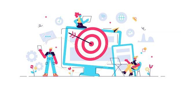 I consumatori con dispositivi ricevono annunci e messaggi mirati. targeting multi-dispositivo, raggiungendo il pubblico, concetto di marketing cross-device su sfondo bianco. illustrazione vibrante viola vibrante luminosa