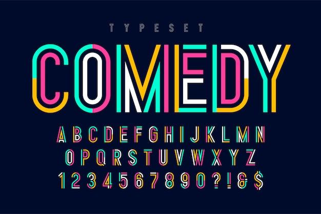 Design, alfabeto e numeri con caratteri colorati condensati.