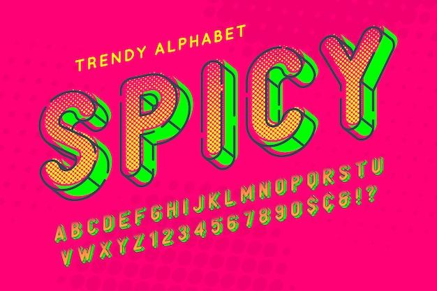 Carattere popart di visualizzazione condensata, alfabeto, lettere e intorpidimento