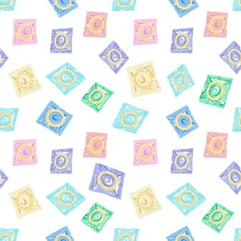 Modello senza cuciture del preservativo. preservativi in confezione isolata su uno sfondo bianco. illustrazione piana di vettore.