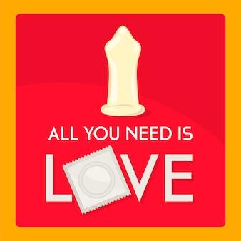 Preservativo con messaggio d'amore