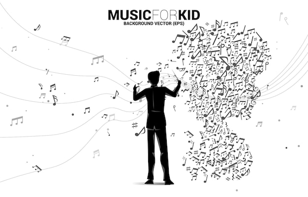 Direttore d'orchestra e bambino dalla nota musicale a forma di flusso danzante. musica di sottofondo di concetto per bambini e ragazzi.
