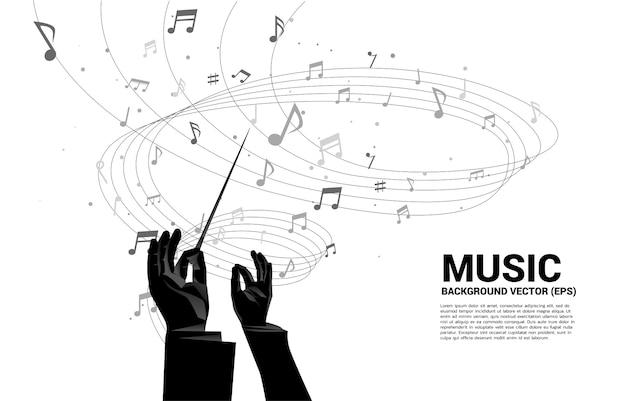 Mano del direttore d'orchestra con flusso di danza della nota di melodia di musica. Vettore Premium
