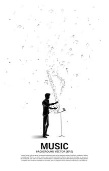 Direttore d'orchestra e musica melodia nota flusso danzante. priorità bassa di concetto per il tema della canzone e del concerto.