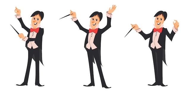 Direttore d'orchestra in diverse pose. personaggio maschile in stile cartone animato.