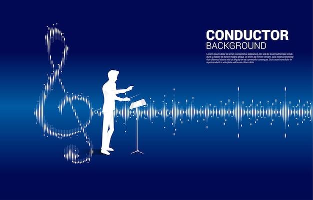 Direttore d'orchestra con musica e tecnologia del suono. onda equalizzatore concetto come nota musicale