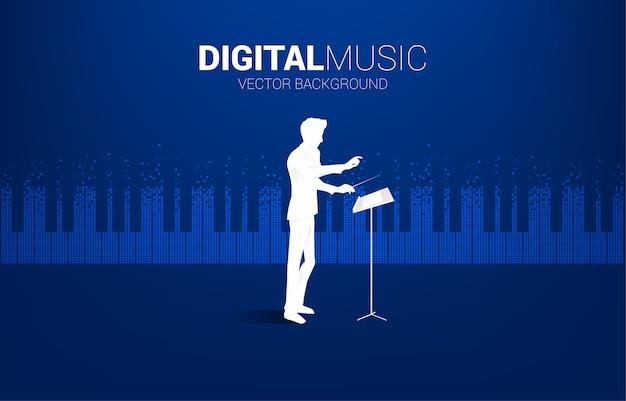 Direttore d'orchestra con chiave di pianoforte trasformata da pixel. concetto di sfondo per eventi di canzoni classiche e festival di musica