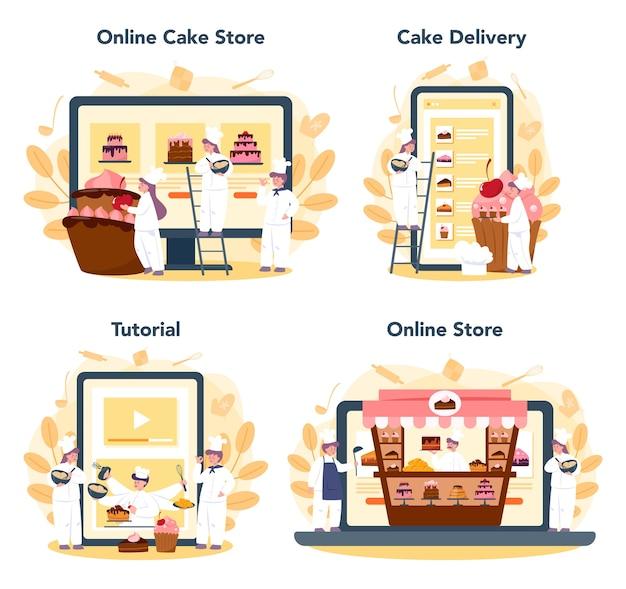 Servizio online di pasticceria o set di piattaforme. negozio online, tutorial di cottura e consegna di torte. chef pasticcere professionista che cucina torta per le vacanze.