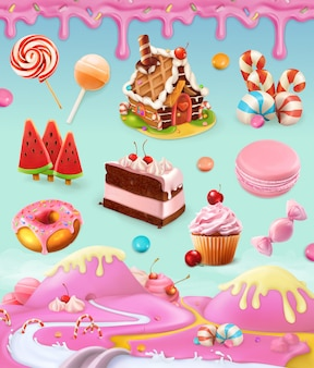Pasticceria e dessert, torte, cupcake, caramelle, lecca-lecca