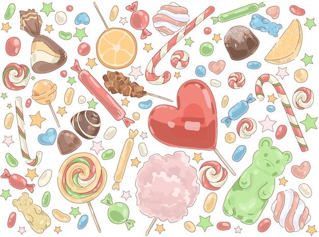 Set di lecca lecca di prodotti dolciari
