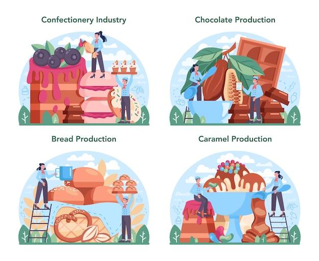 Set di industria di produzione dolciaria. deliziosa fabbrica di pasticceria e dolciumi. processo di produzione del pane, del cioccolato e del caramello. illustrazione vettoriale piatto isolato