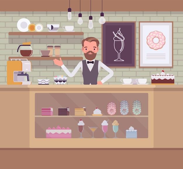 Illustrazione del negozio di dolciumi Vettore Premium