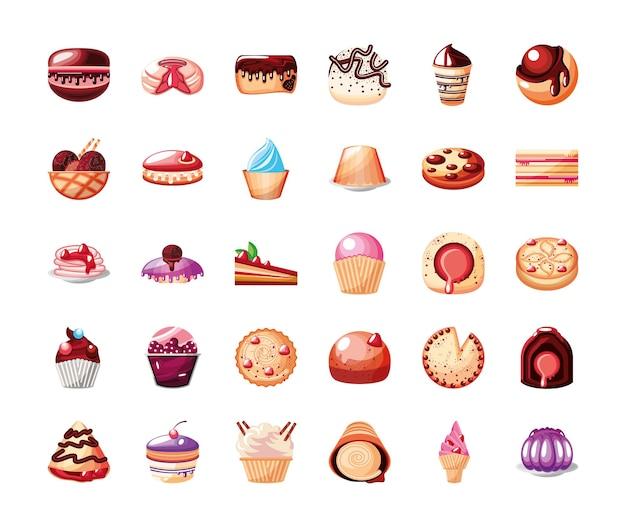 Icone di pasticceria dolci dessert pasticcini