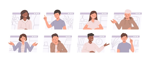 Teleconferenza e concetto di riunione a distanza. serie di illustrazioni con uomini e donne che parlano e discutono di smth. illustrazione piatta con persone che chattano online