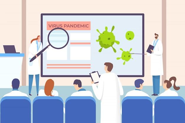 Concetto di medici di conferenza, illustrazione di informayion di coronavirus. impiegati dell'ospedale di sensibilizzazione sulla pandemia alla riunione.