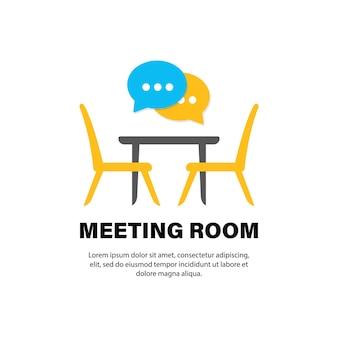Sala riunioni per conferenze, icona piana di bordo. scrivania da ufficio, sedie con nuvoletta. vettore su sfondo bianco isolato. env 10.