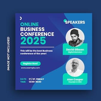 Conferenza social media post banner aziendale e volantino quadrato Vettore Premium