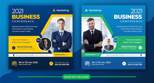 Social media conferenza post marketing aziendale social banner e volantino quadrato