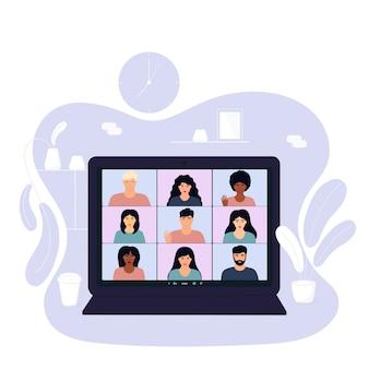 Videochiamata in conferenza. riunione multietnica del team da casa durante la quarantena