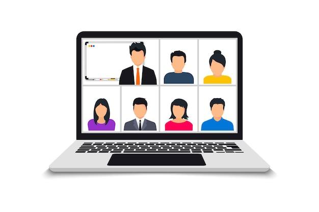 Videochiamata in conferenza. riunione online in videochiamata. videoconferenza web. squadra che utilizza laptop per una riunione online. lavorare da casa condividere idee, brainstorming, negoziazione, schermo del pc