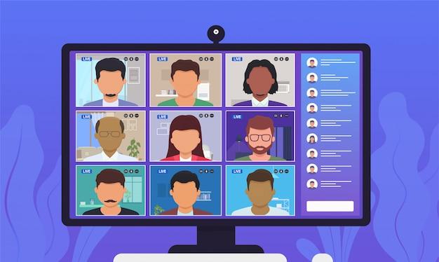 Videochiamata in conferenza. persone che parlano tra loro sullo schermo del monitor.