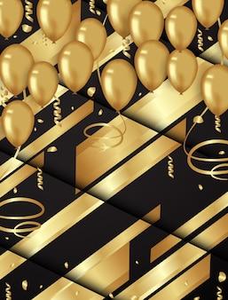 Sfondo di coriandoli e palloncini d'oro illustrazioni vettoriali