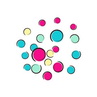 Cornice di coriandoli a pois di fumetti pop art. grandi macchie colorate, spirali e cerchi su bianco