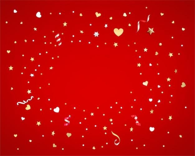 Coriandoli di stelle e cuori su sfondo rosso