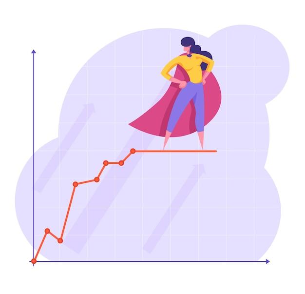 Donna sicura di affari in mantello rosso da super eroe con le braccia