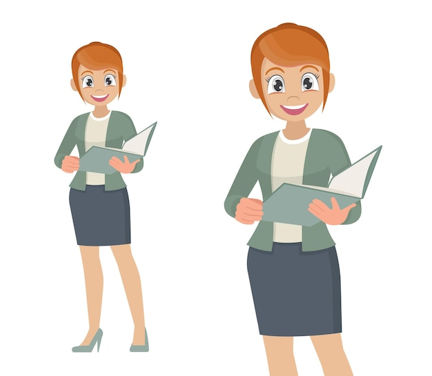 Donna sicura di affari con i documenti