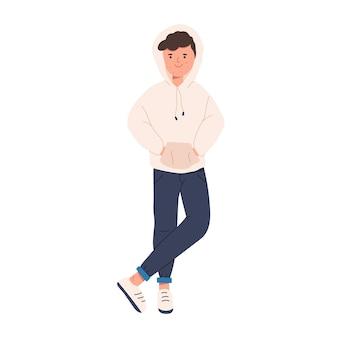 Fiducioso adolescente sorridente con acne e problemi di pelle isolati su sfondo bianco