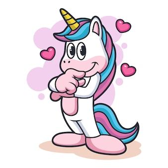 Cartone animato unicorno fiducioso con posa carina. animal fantasy icon concept, isolato su sfondo bianco con amore