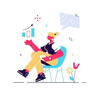 Giovane donna sicura che sta vicino alla lavagna a fogli mobili e che indica grafico e diagramma