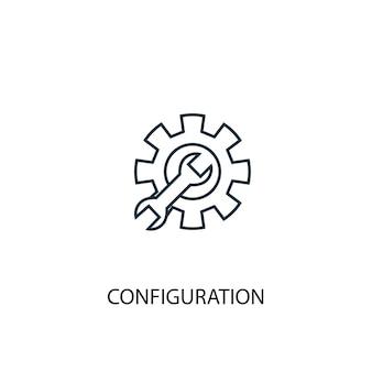 Icona della linea del concetto di configurazione. illustrazione semplice dell'elemento. disegno di simbolo di contorno del concetto di configurazione. può essere utilizzato per ui/ux mobile e web