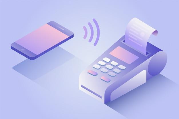 Conferma il pagamento tramite telefono cellulare, concetto di pagamento isometrico nfc