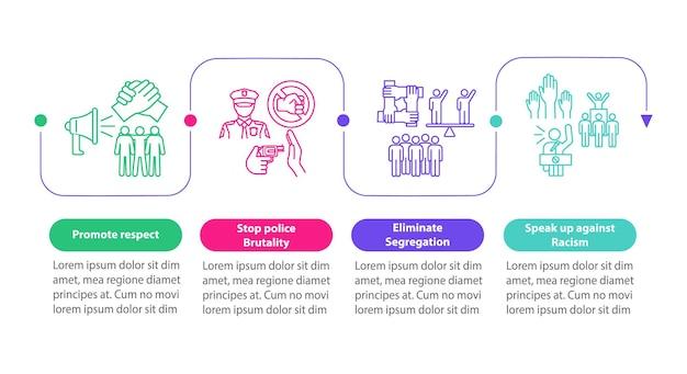 Affrontare il modello di infografica vettoriale di razzismo. promuovere il rispetto degli elementi di progettazione del profilo di presentazione. visualizzazione dei dati con 4 passaggi. grafico delle informazioni sulla sequenza temporale del processo. layout del flusso di lavoro con icone di linea