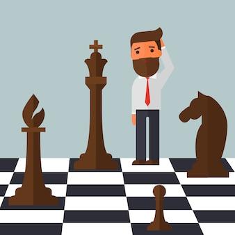 Uomo d'affari confuso sulla scacchiera